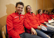 20101111  Beitost¿len. Ole Einar Bj¿rndalen og Emil Hegle Svendsen  f¿r skiskytternes pressekonferanse. Foto: Geir Olsen