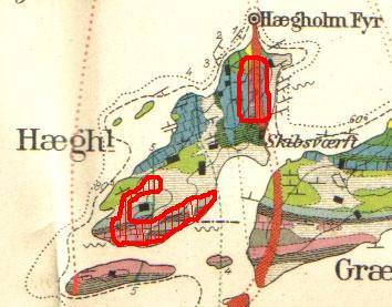 Geologisk kart over Heggholmen og Gressholmen. Tegnet av W. C. Brøgger i 1884.