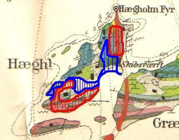 Geologisk kart over Heggholmen og Gressholmen. Tegnet av W. C. Brøgger i 1884