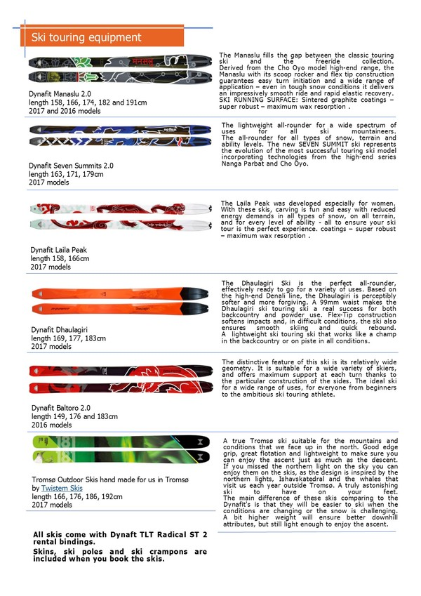 Tromsø Outdoor, Touring skis selection 2017, rental offer