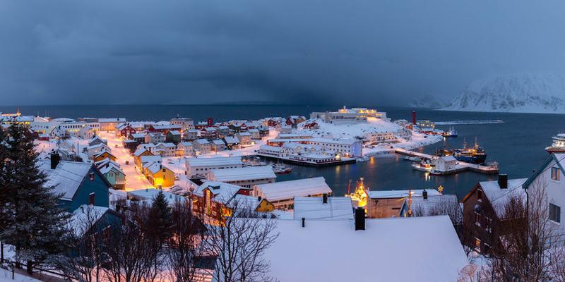 Vinterbilde fra Honningsvåg