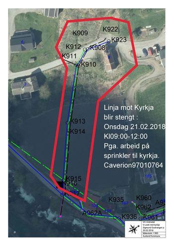 Kart over stenging av vasslinje til Kyrkja i Undredal onsdag 21.02.2018