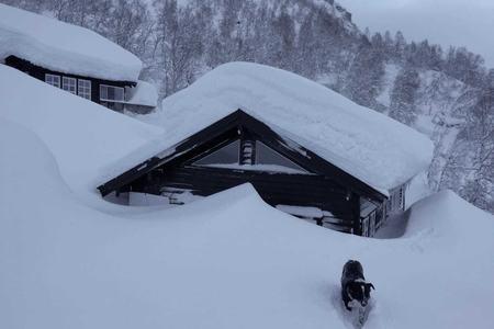 Hytte med snø