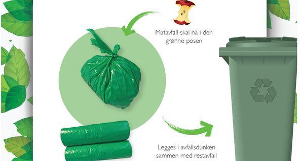 Matavfall i grønne poser