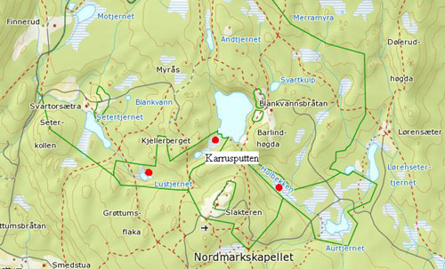 kart over nordmarka oslo Norsk Naturarv : Knottblom (Microstylis monophyllos): Lokalitet 2  kart over nordmarka oslo