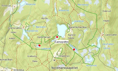 kart nordmarka oslo Norsk Naturarv : Knottblom (Microstylis monophyllos): Lokalitet 2  kart nordmarka oslo