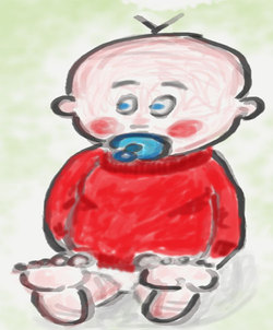 Illustrasjon av barn med smukk. Ill.: Bent Johansen