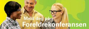 Foreldrekonferanse 2014, banner med teksten Meld deg på Foreldrekonferansen