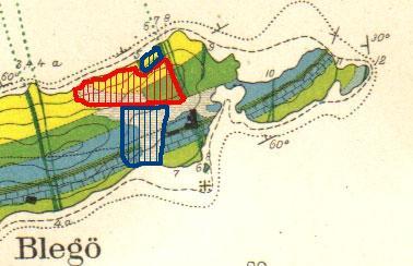 Geologisk kart over Bleikøya. Tegnet av W. C. Brøgger i 1884.