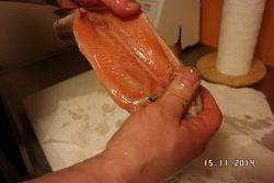 Rakfisken er rød og fin i fisken etter 4 måneder i saltlake