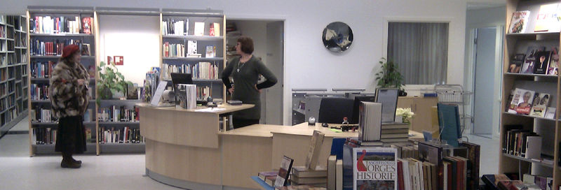 Bibliotekaren bak disken snakker med brukaren