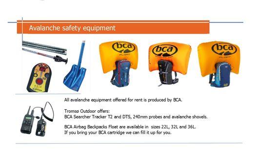 Avalanche safety equipment rentals 2017, Tromsø Outdoor