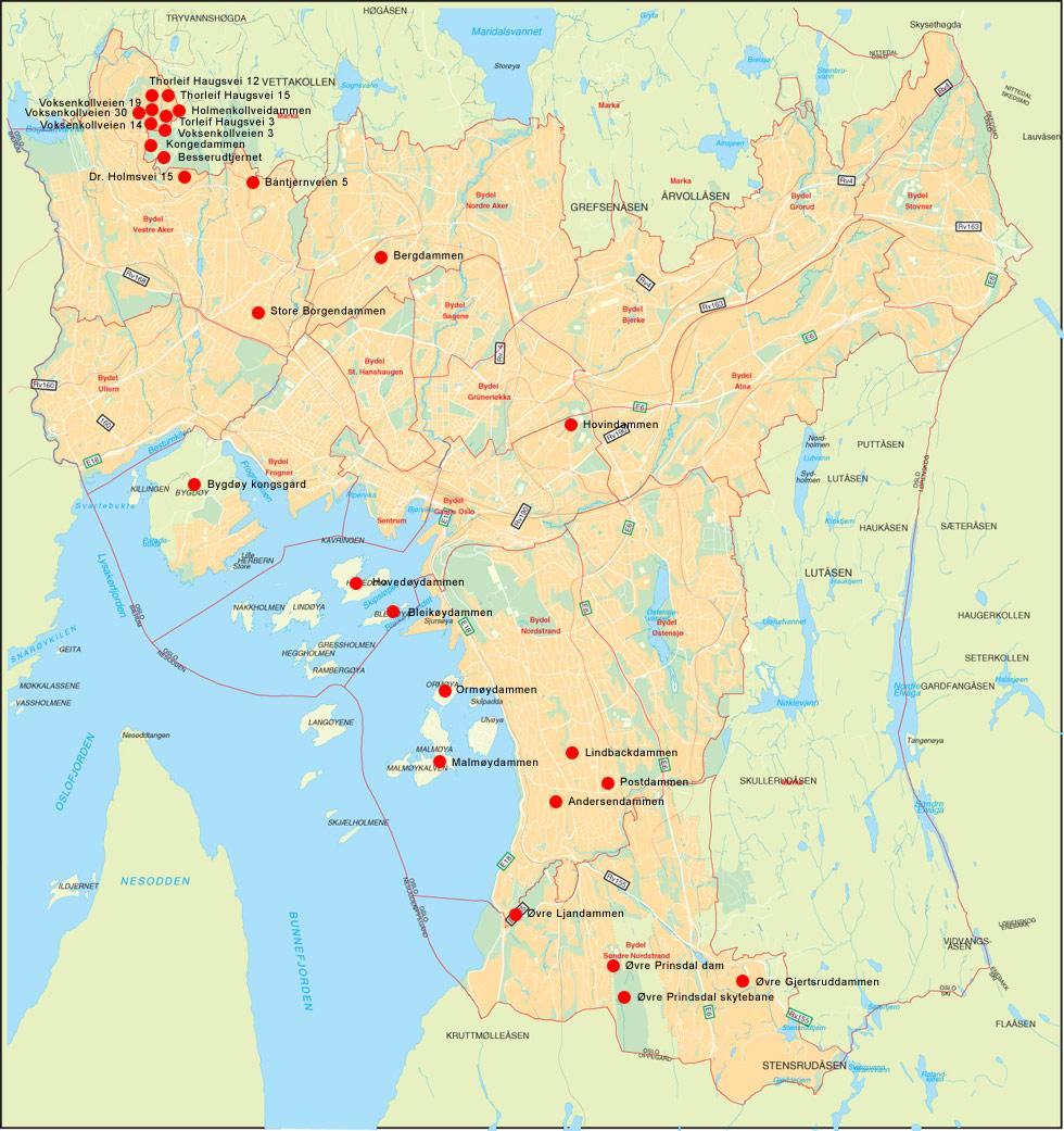 kart oslo Norsk Naturarv : Kart over amfibiedammer i Oslo som overvåkes kart oslo