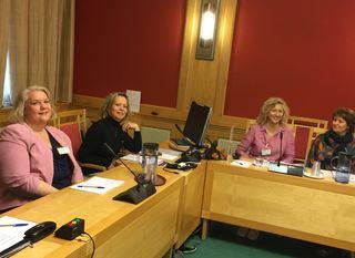 FUG-leder t.v, seniorrådgiverne Åse-Berit Hoffart og Lou C. Norreen FUB og Gøril Lyngstad FUG