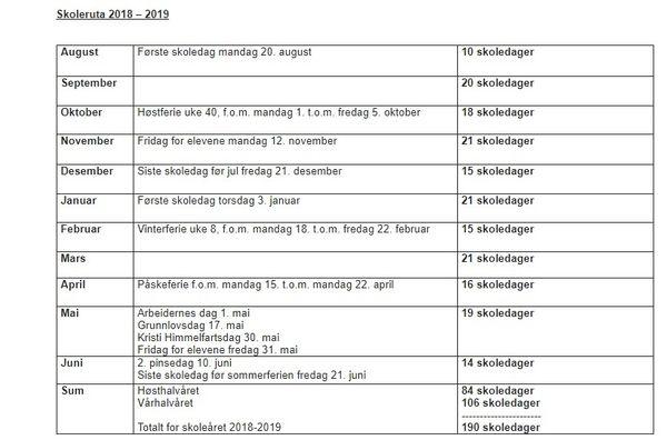 Skolerute 2018-19