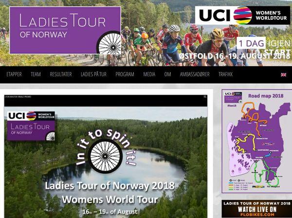 Ladies tour printscreen nettside