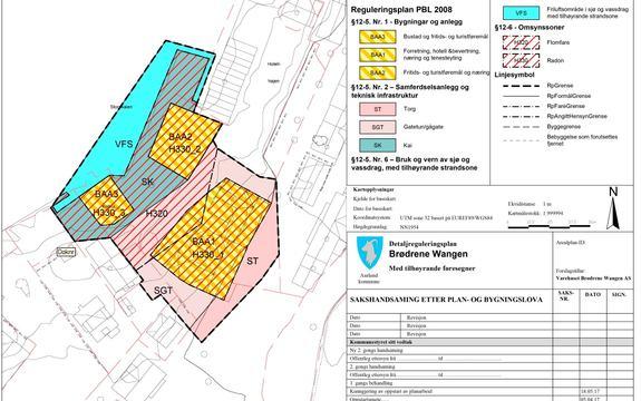 Bildet viser framlegg til reguleringsendring for varehuset Brødrene Wangen