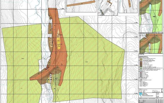Bilde av plankartet reguleringsplan for Myrdal stasjon