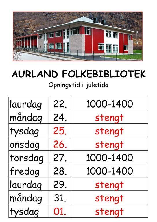 Opningstider i jula - Aurland folkebibilotek