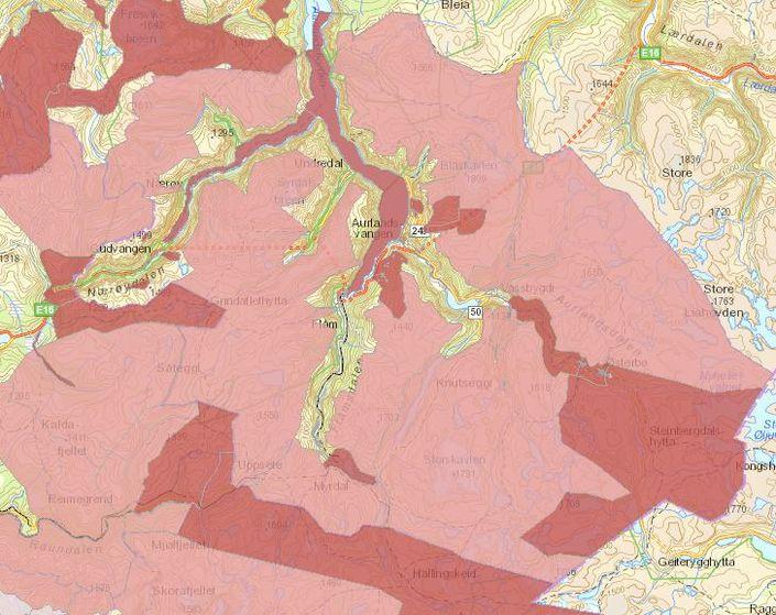 Kart over verdisetting av friluftsområde