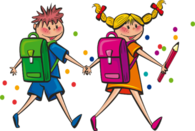 Tegninger av to barn med skolesekk