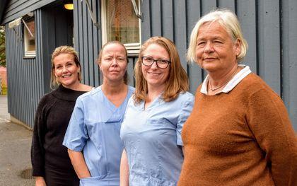 Gruppebilde av helsesøster Hege Myhren-Larsen, fysioterapeut Ane Grydeland, lege Mirjam Kilen og helsesøster Ellen Weydahl.