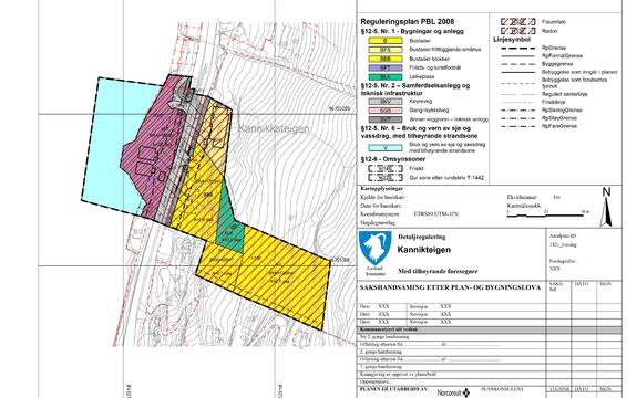 Bildet viser framlegg til detaljreguleringsplan for Kannikteigen
