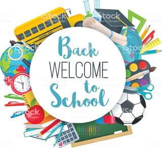 Vector back to school round banner with school supplies in flat style.