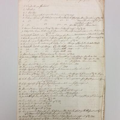 Arkivliste frå 1848 funne i arkivet etter Etne formannskap