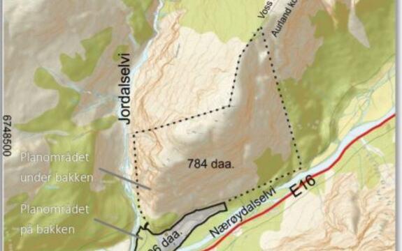 Bildet viser det samla planområdet for Holmen gruve og deponi