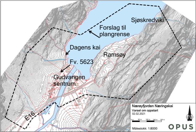 Kart over planområde Nærøyfjorden næringskai 2