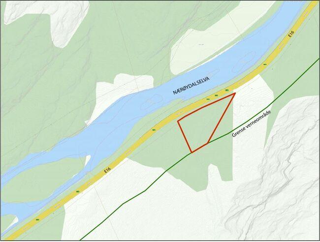 Kart over planområde flaumløp E16