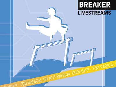 Plakat til internett-seminar. Mann løper over hindre. Animasjonsstil.