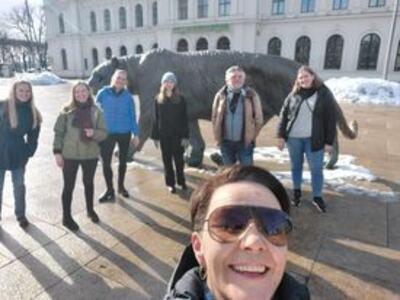 Walk and talk i Oslo med KRUS-ansatte og praksisstudenter. Foto.