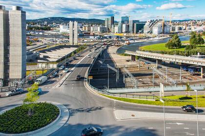 """OSLO: Bilde av trafikkmaskinen ved Bjørvika i Oslo. Høringsbrevet """"Levekår i byer - gode lokalsamfunn for alle"""