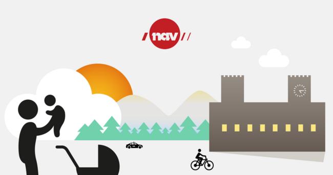 Illustrasjonsbilde av en person som holder en baby, en syklist og en bil foran et hus. Skog, fjell og solnedgang i bakgrunnen.