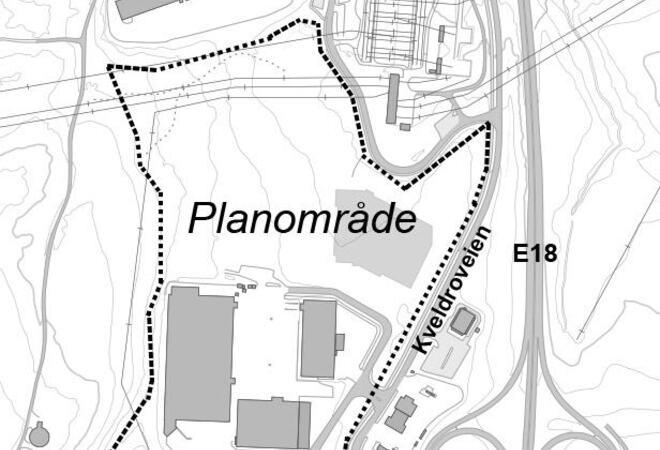 Kart over planområdet for Nygård næringspark
