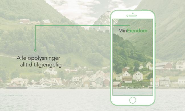 Illustrasjon med en mobiltelefon og et boligfelt i fjell-landskap
