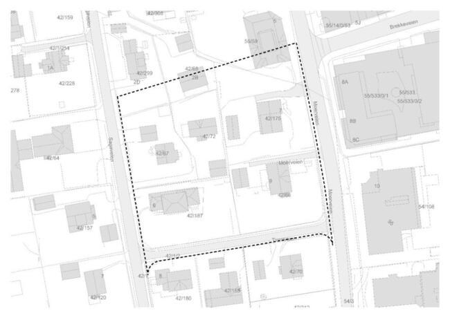 Kart over detaljregulering for Moerveien 7-9