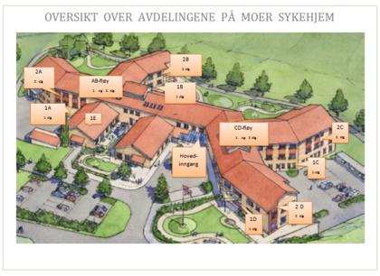 Illustrasjon som viser hvor de ulike avdelingene på Moer sykehjem er