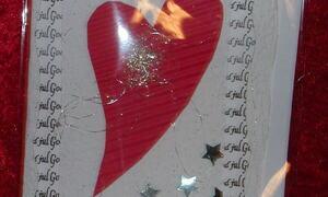 Julekort med rødt hjerte