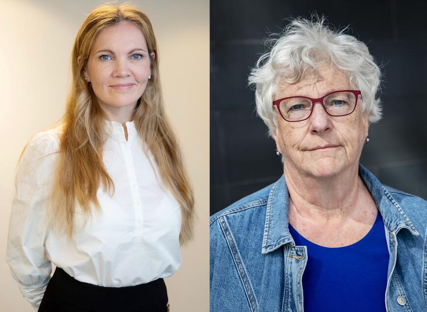 Maria Hessen Jacobsen og Randi Rosenqvist tildeles Rettsikkerhetsprisen 2021. Foto: Juristforbundet, Eivind Senneset / Thomas Haugersveen