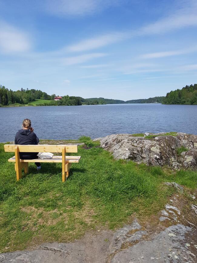 Foto av en benk ved Årungen